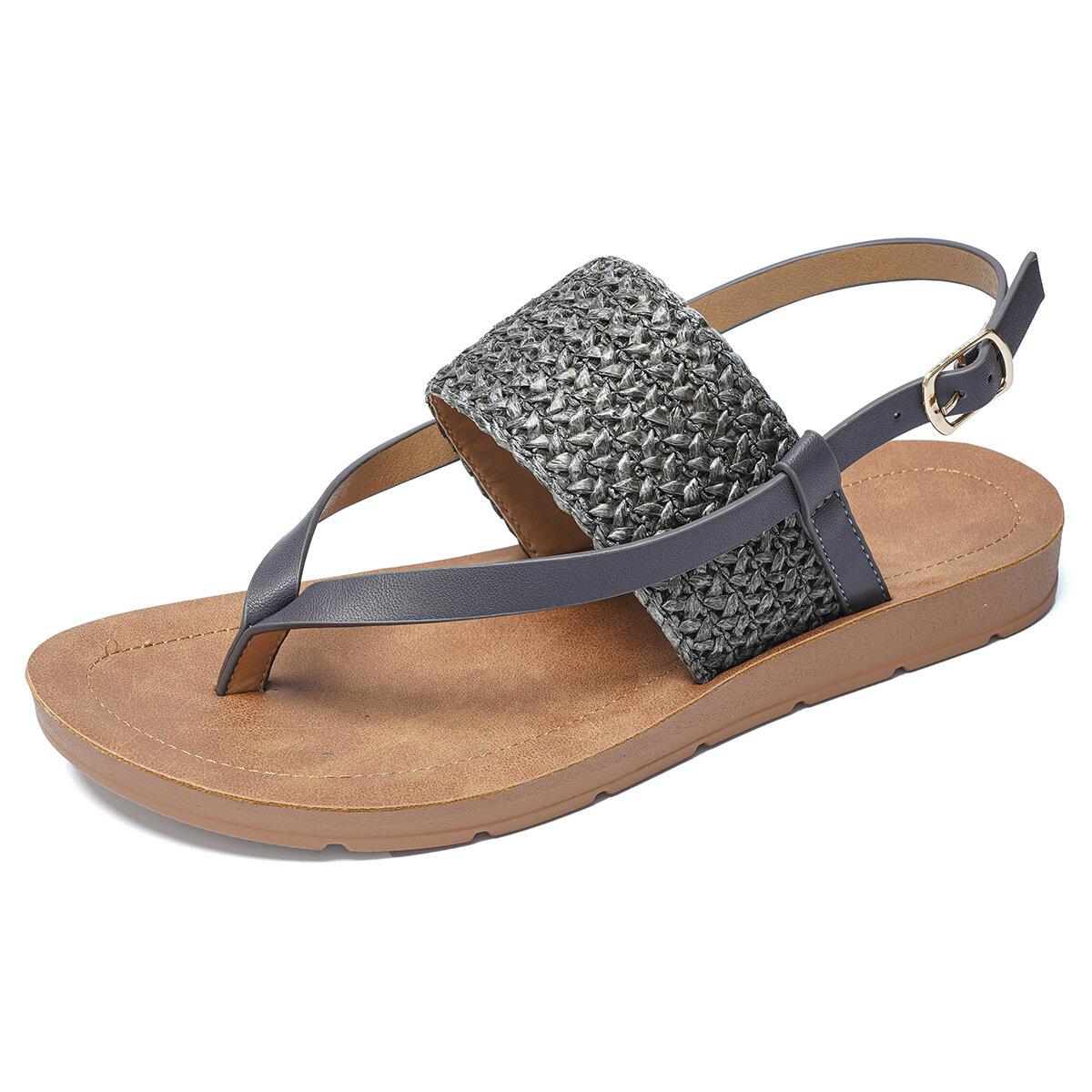 Clip Toe Knitted Flip Flops Casual Summer Slingback Sandals