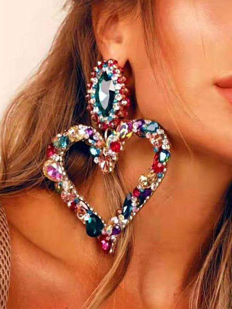 Rhinestone Alloy Vintage Colorful Heart-shape Earrings