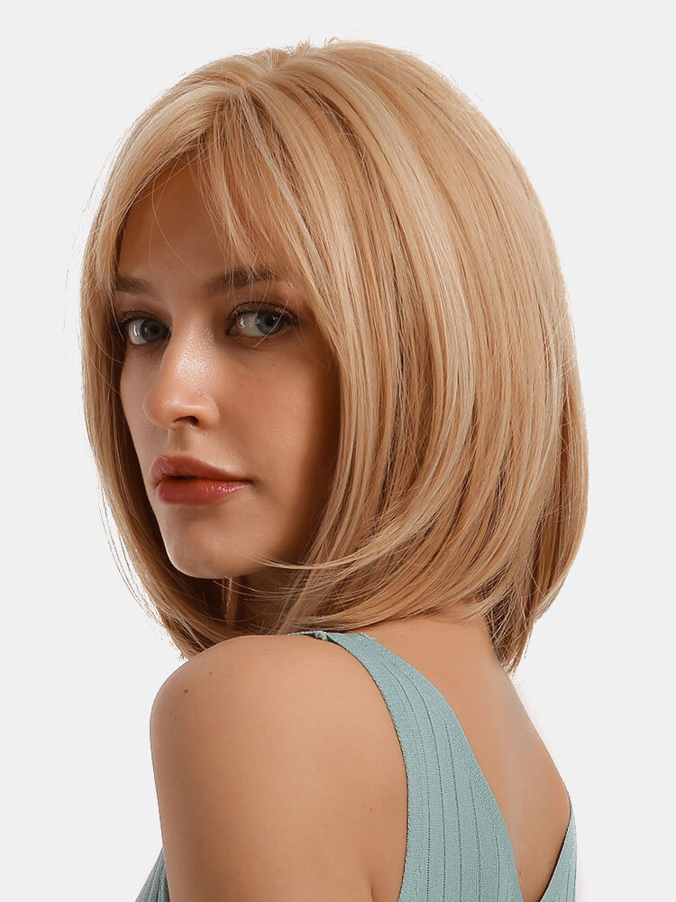 14 Inch Synthetic Hair Blonde Mixed Color Bangs Wig Cute Bobo Playful Wave Shawl Wig