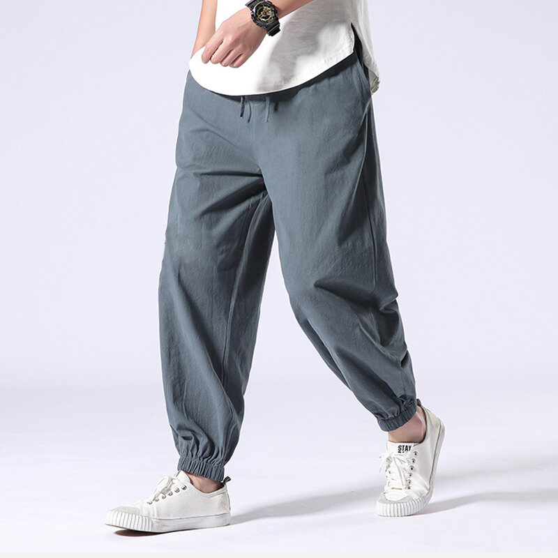 914d11cad9 Mens Casual Solid Loose Elastic Waist Harlan Pants Retro Cotton Pants  Online-NewChic