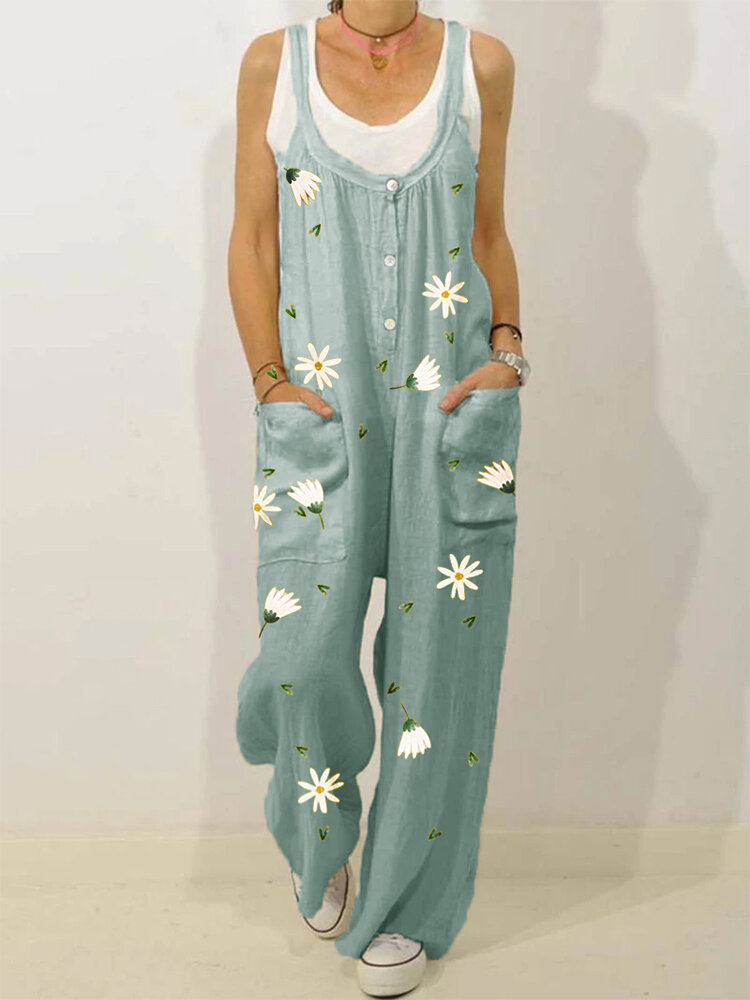 Daisy Floral Print Straps Plus Size Loose Jumpsuit with Pockets