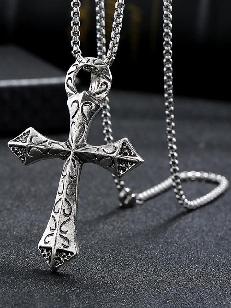 Simple Long Round Bead Chain Men Necklace Cross Pendant Sweater Chain Women Jewelry