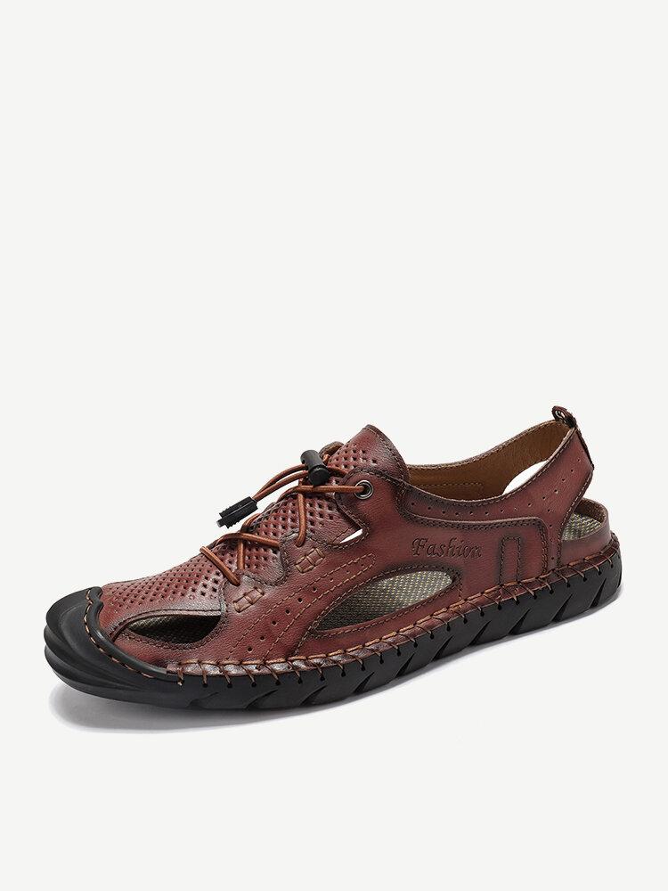 Menico Men Hand Stitching Leather Hole Non Slip Elastic Lace Casual Sandals