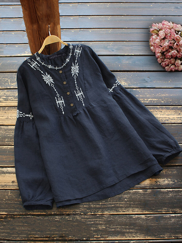 Geo Embroidery Long Sleeve Stand Collar Button Women Blouse