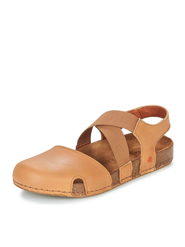 Women Comfy Solid Elastic Band Hollow Out Fisherman Sandals