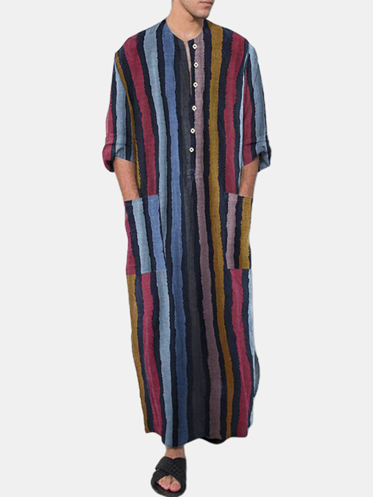 Plus Size Multi-Color Striped Home Soft Long Sleeve Loungewear Robe With Waist Pockets