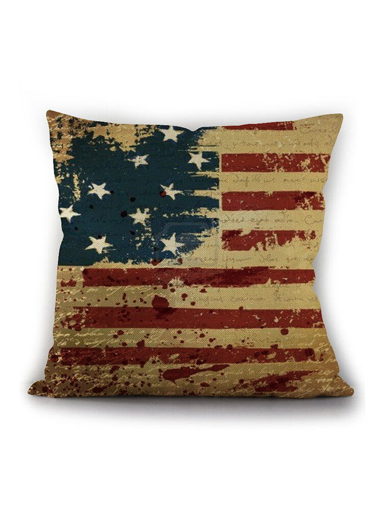 American Independence Day Pillow Painting American Flag Linen Pillowcase Cushion Cover