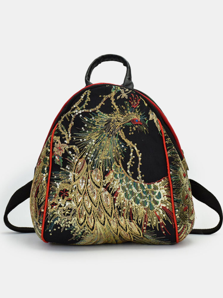 Women Ethnic Sequined Embroidered Peacock Backpack