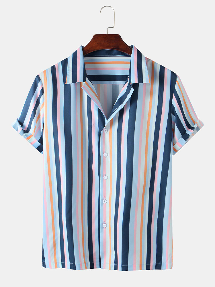 Mens Multi Color Striped Printed Buttons Shirt
