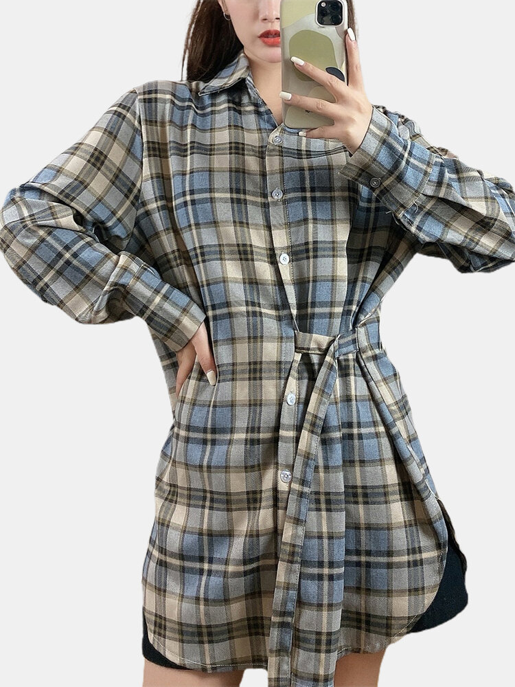 Plaid Print Knotted Long Sleeves Casual Blouse for Women