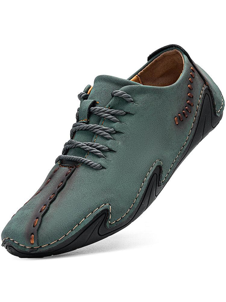 حذاء رجالي من مينيكو بخياطة يدوية من الجلد المصنوع من الألياف الدقيقة غير قابل للانزلاق Soft حذاء غير رسمي للقيادة