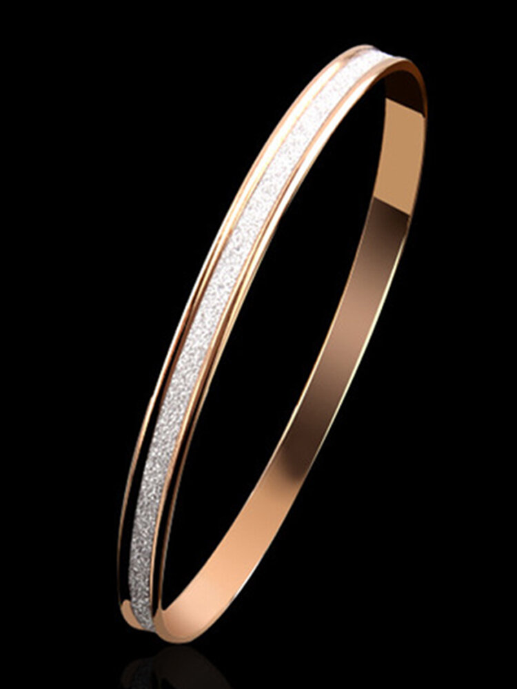 Trendy Simple Metal Scrub Bracelet Stainless Steel Bracelet Couple Jewelry