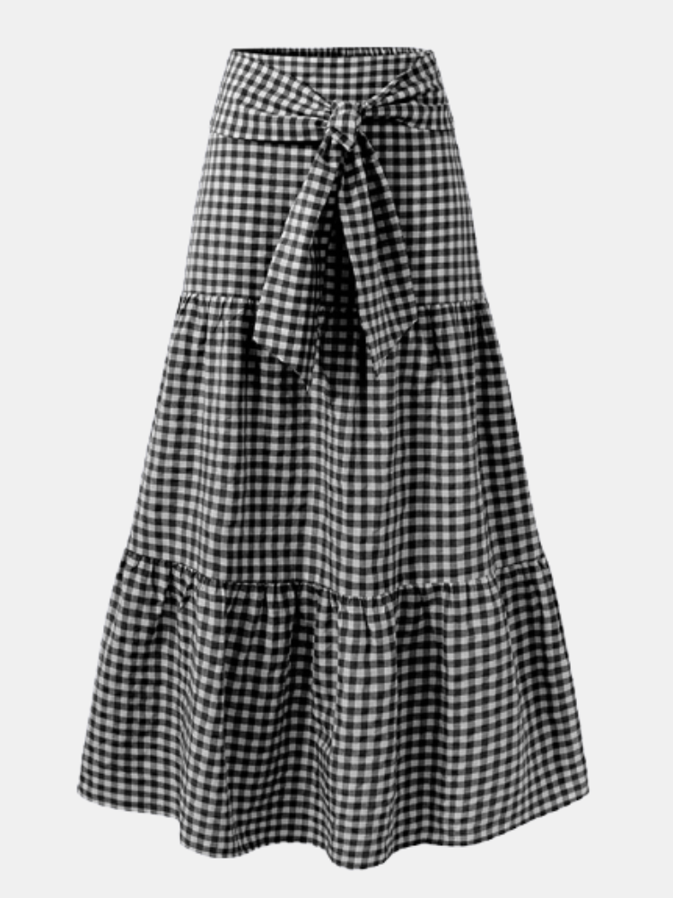 Plaid Print Elastic Waist Knotted Plus Size Casual Skirt for Women