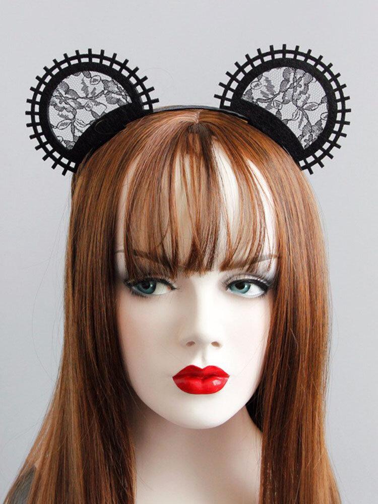 Cosplay Cute Headband Black Lace Mouse Ear Lolita Party Headband