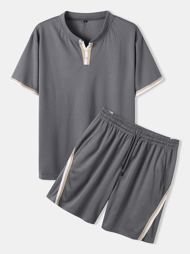 Mens Sporty Mesh Net Breathable T-Shirt & Drawstring Shorts Co-ords