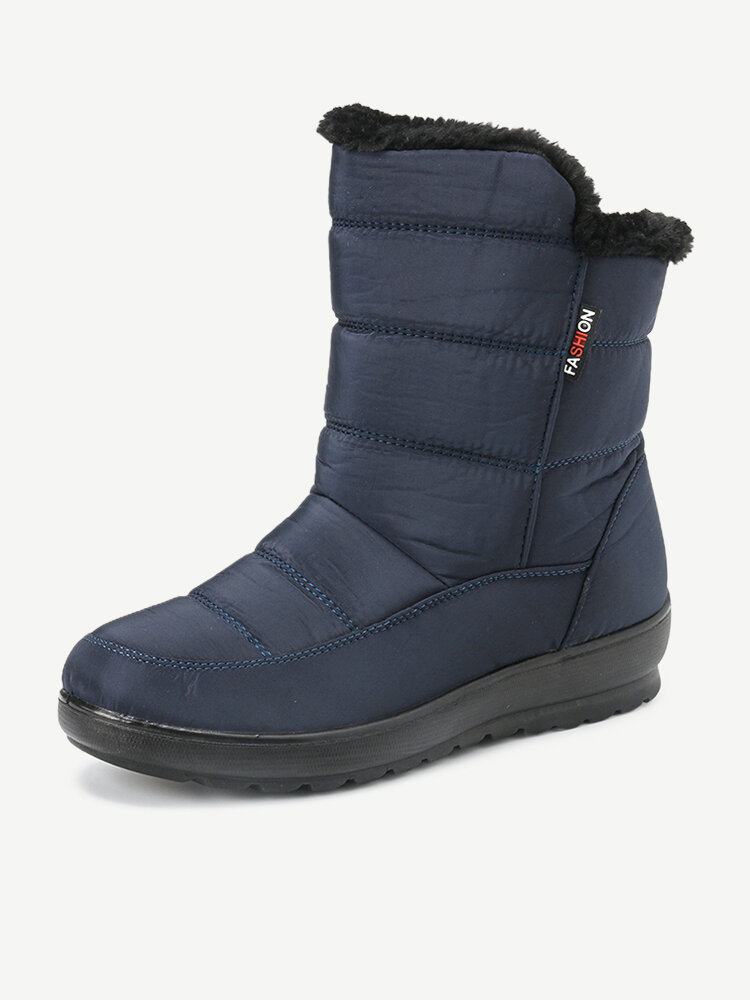 Waterproof Mid Calf Soft Sole Warm Fur Casual Flat Boots For Women