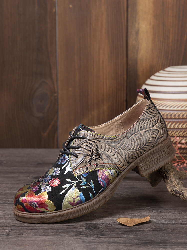 SOCOFY Floral Printed Embossed Cowhide Leather Comfy Round Toe Lace Up Casual Flat Shoes