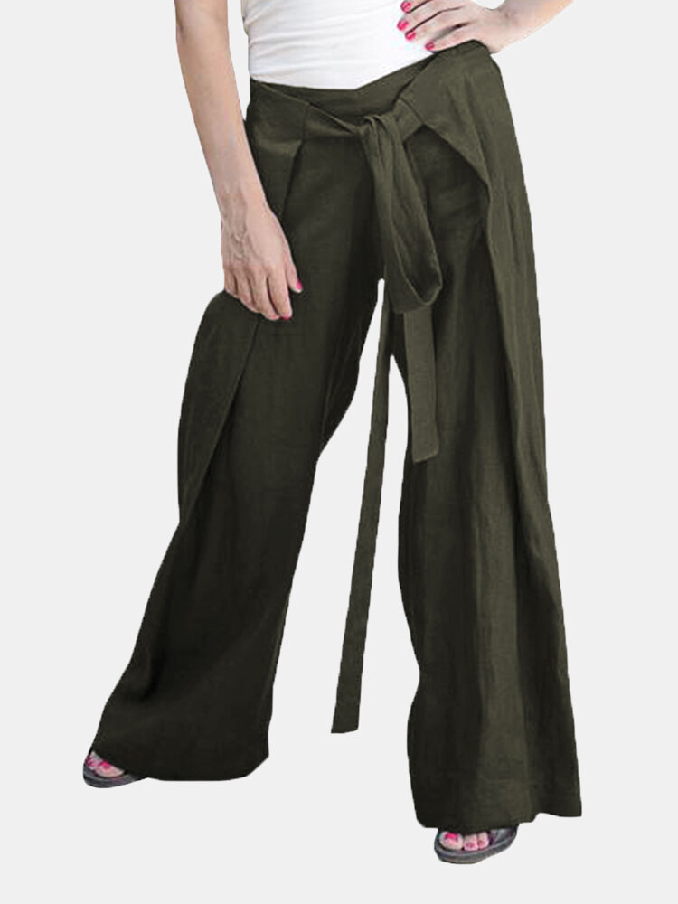 Women Lace-up Elastic Waist Solid Color Casual Pants