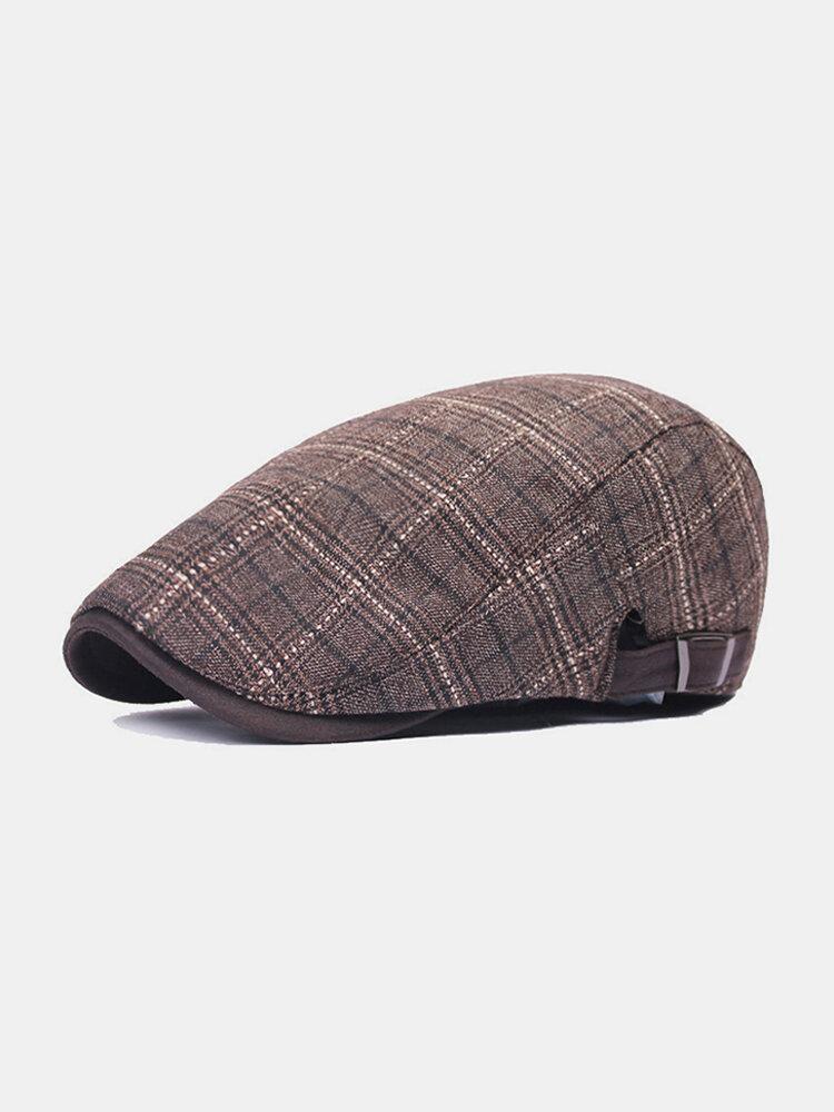 पुरुष वार्म प्लेड पैटर्न कैजुअल फॉरवर्ड हैट बैरिट हैट फ्लैट कैप रखें