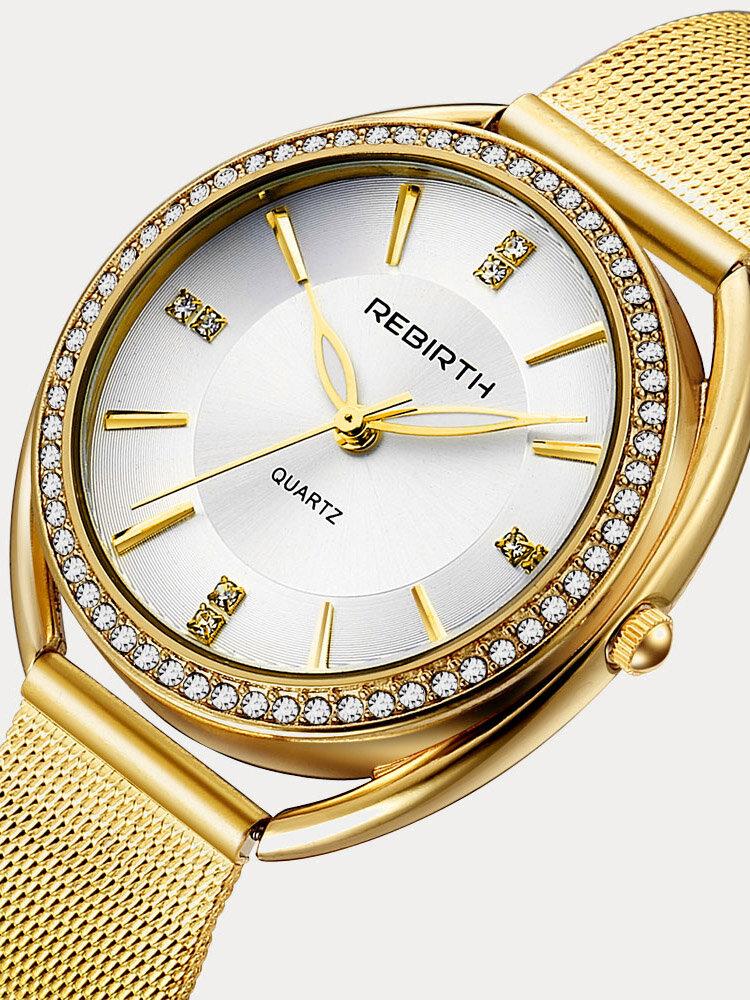 Diamond Dial Case Women Wrist Watch Full Steel Elegant Design Quartz Watch