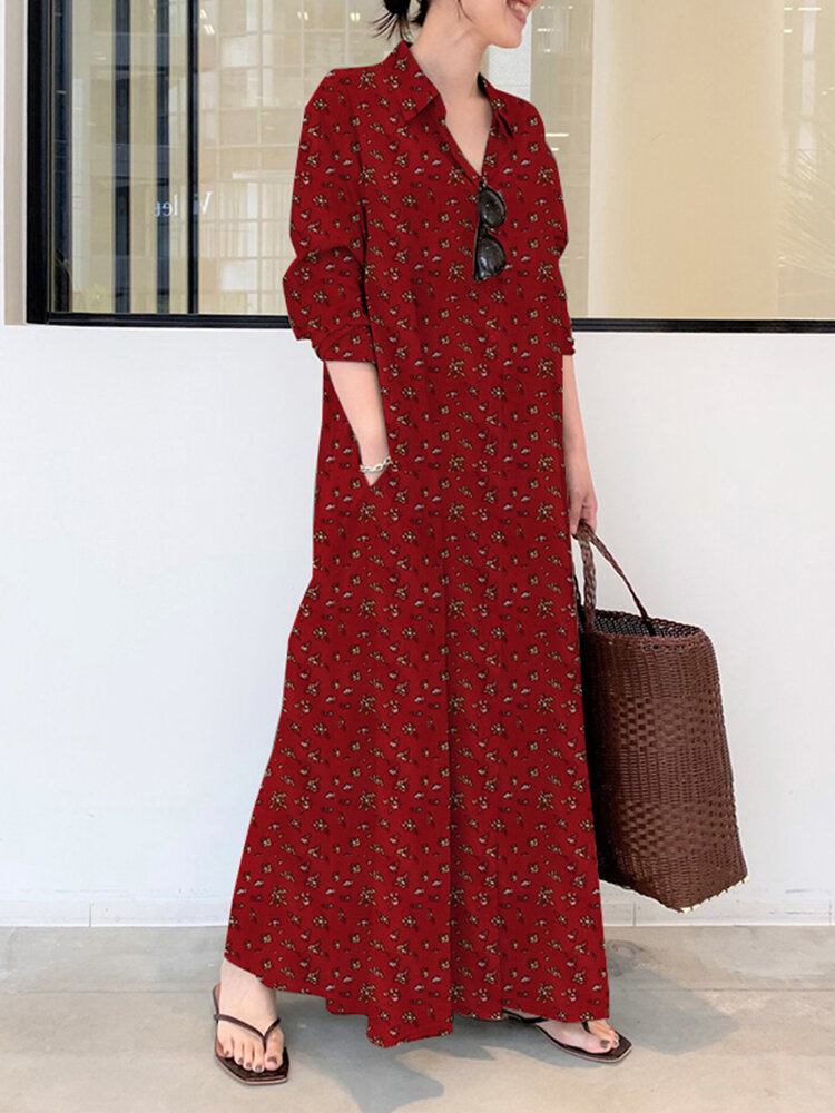 Floral Print Casual Dress With Pocket For Women