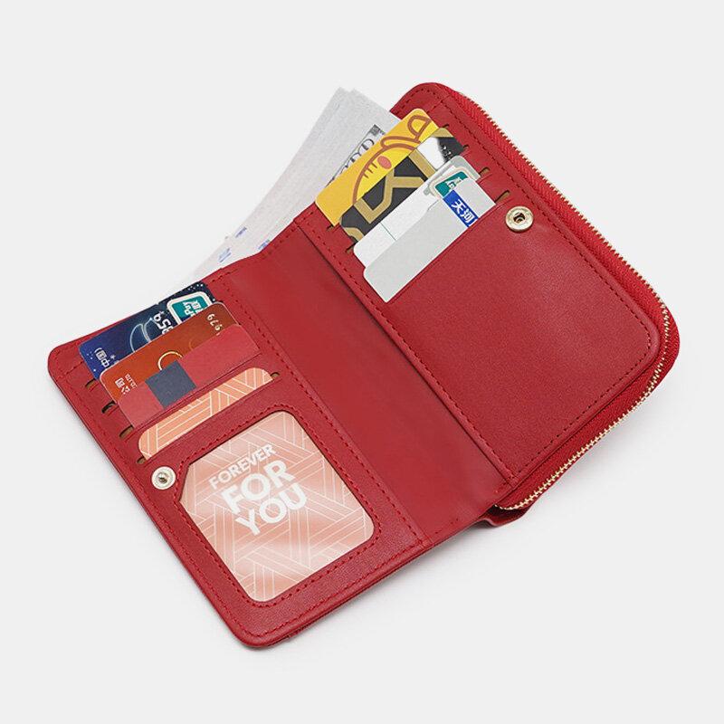 Women PU Leather 8 Card Slots Photo Card Phone Bag Money Clip Wallet Purse