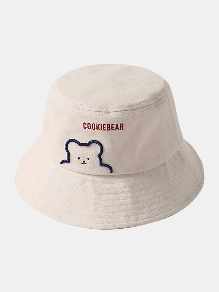 Unisex Cotton Bear Letter Pattern Embroidery Solid Color Cute Bucket Hat