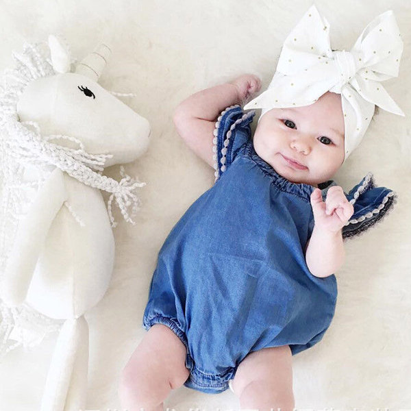 Summer Style Ruffled Sleeve Girl Denim Romper For 0-48M
