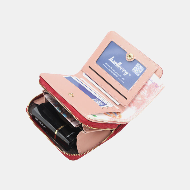 Women RIFD Tassel PU Leather Multi-card Slots Photo Card Money Clip Short Wallet Purse