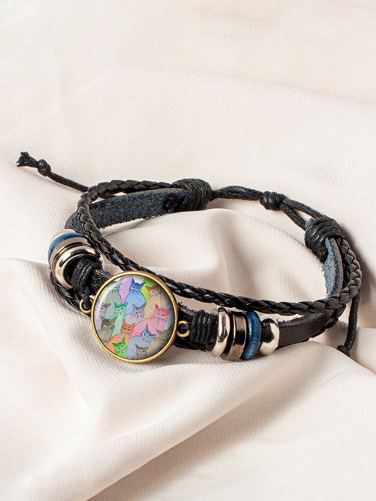 Vintage Round Glass Print Multicolor Cat Looking Sideways Hand-Woven Bracelet