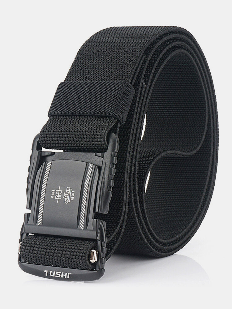 125CM Men Nylon Belt Metal Magnetic Buckle Quickly Unlock Tactical Casual Belt