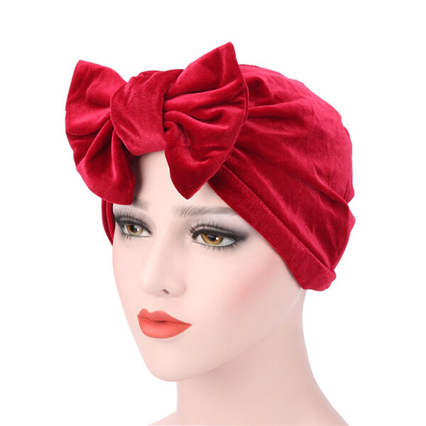 Large Bow Tie Cotton Hedging Cap Colorful Soft Breathable Skullies Beanies Hat for Women