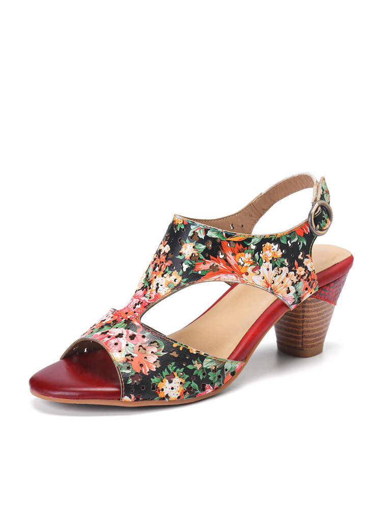 Socofy Holiday Floral Print Bohemian Cowhide Hollow out Low Heel Buckle Opened Chunky Heel Sandals