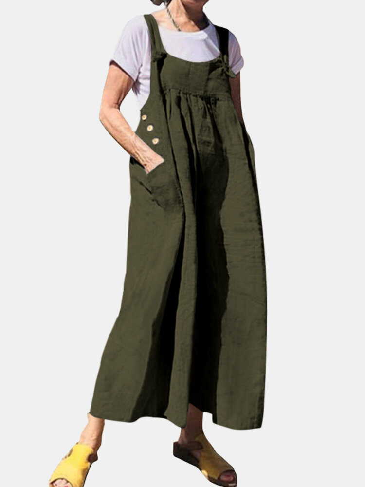 Casual Solid Color Side Pockets Buttons Sleeveless Jumpsuits
