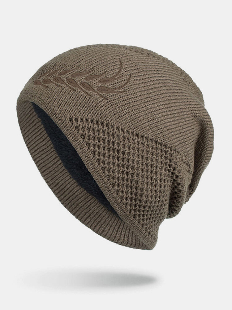 男性冬Plusベルベット刺繡小麦の耳屋外ジャカードロングニット暖かいビーニー帽子