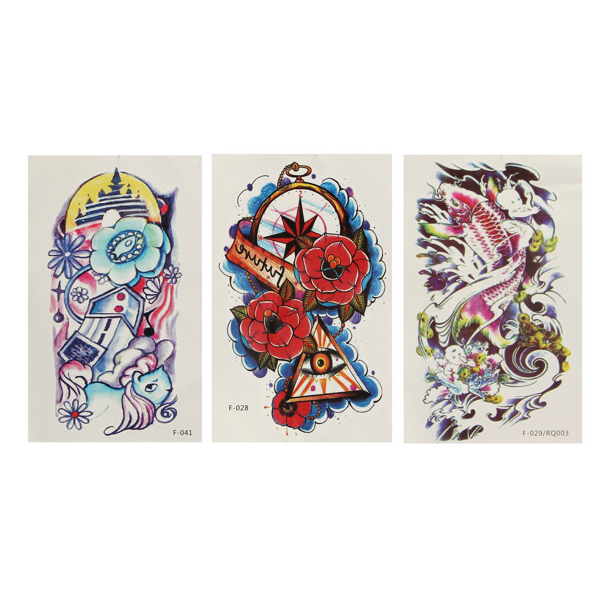 Colorful Fish Flower Pattern Totem Arm Back Temporary Tattoo Sticker Decal