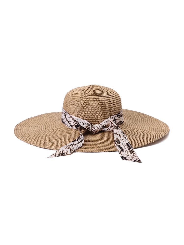 Women Foldable Ribbon Sunscreen Bucket Straw Hat Outdoor Casual Travel Beach Sea Hat
