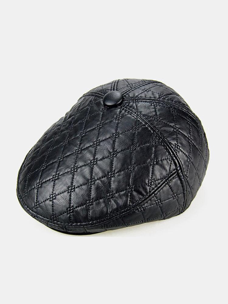 Men PU Leather Earflap Earmuff Beret Cap Plush Lining Blank Embossed Cabbie Hat