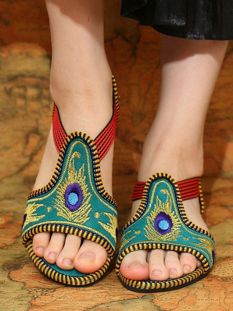Elastic Band Peep Toe Handmade Embroidered Hollow Out Flat Sandals