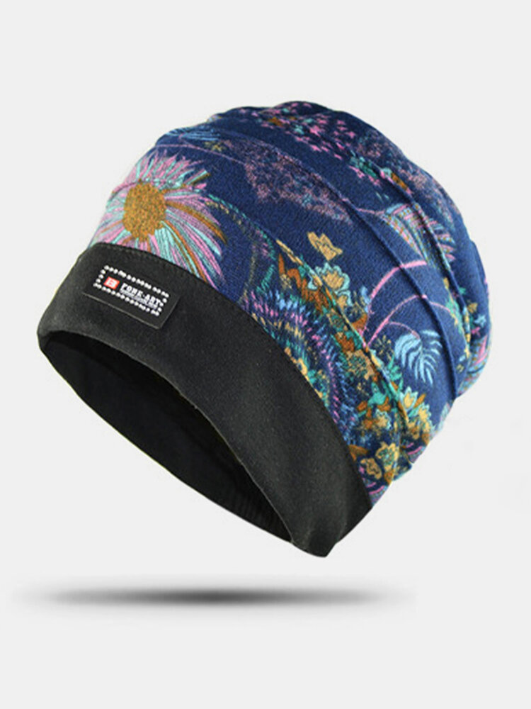 Women Floral Pattern Casual Fashion Breathable Outdoor Pleats Keep Warm Turban Beanie Hat