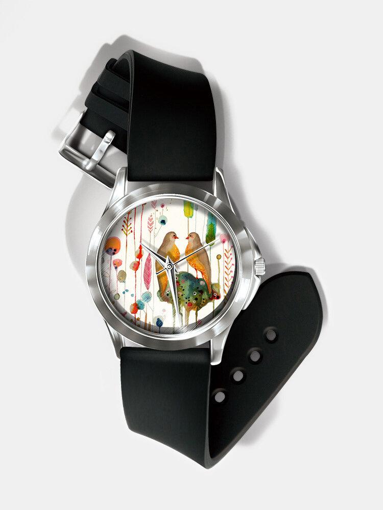 Casual Ultra Light Printed Women Watch Watercolor Ink Painting Flower Bird Pattern Quartz Watch