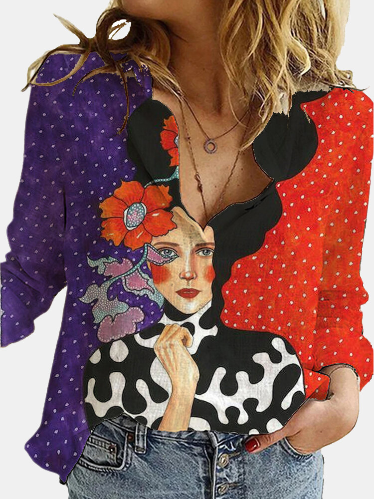 Vintage Printed Long Sleeve Turn-down Collar Blouse For Women