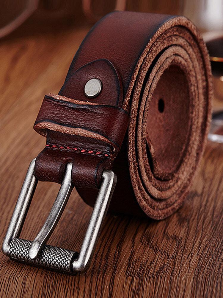 Genuine Leather Men's Belt Casual Waistband Waist Strap Smooth Pin Retro Belt