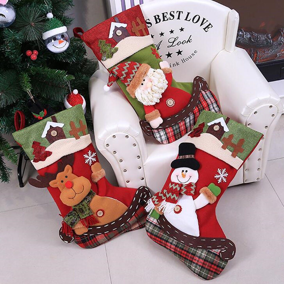 Christmas Tree Bags.Christmas Stockings Christmas Tree Decorations Gift Candy Bags