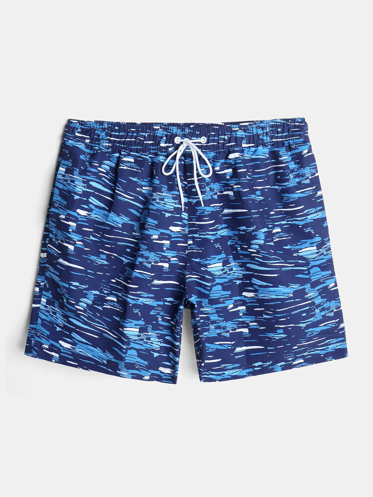 Mens All Over Print Quick Dry Lined Holiday Drawstring Swim Trunks