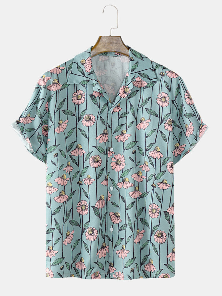 Mens Flower Print Revere Collar Button Up Holiday Short Sleeve Shirts