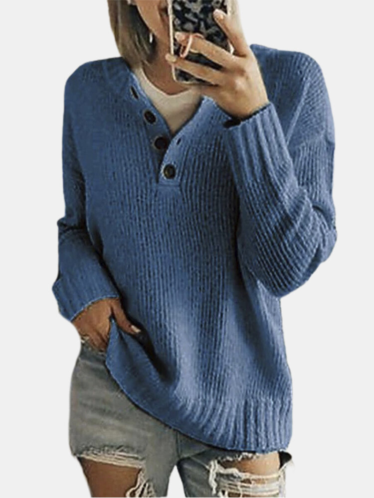 Women Solid Color Button Loose Long Sleeve Casual Sweater