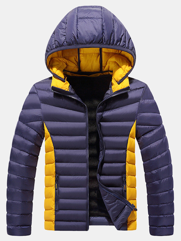 Mens Thicken Fleece Lined Patchwork Warm Windproof Detachable Hooded Jacket With Pocket