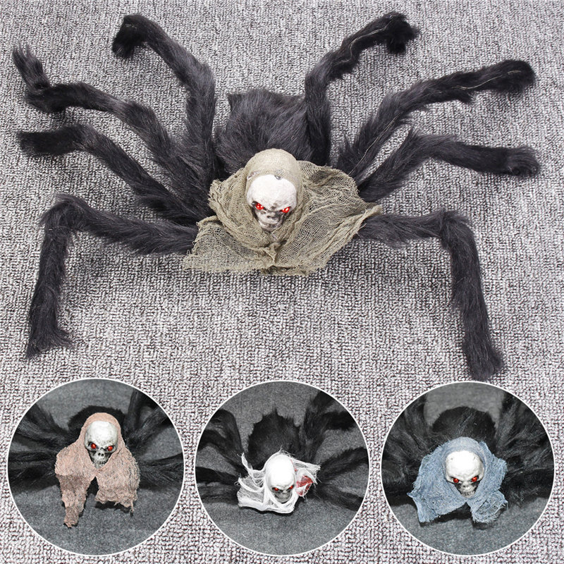 Black Spider Skull Head Halloween DIY Decoration Haunted House Prop Outdoor Decor