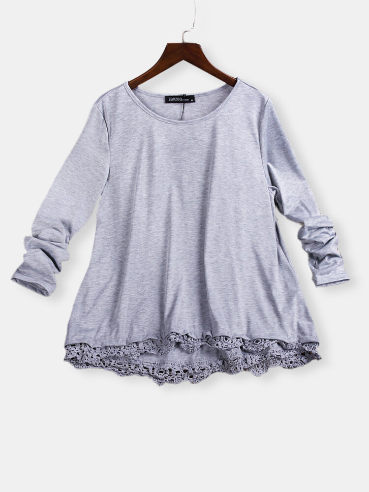 Casual Lace Patchwork Solid Baggy Blouses